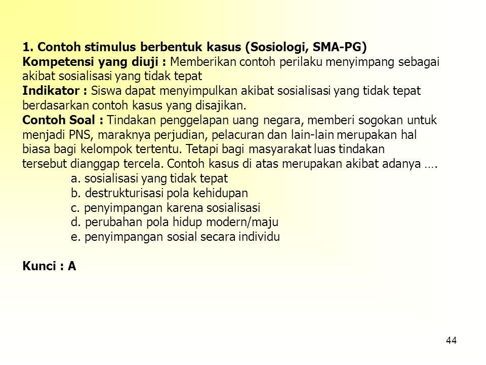 1. Contoh stimulus berbentuk kasus (Sosiologi, SMA-PG)