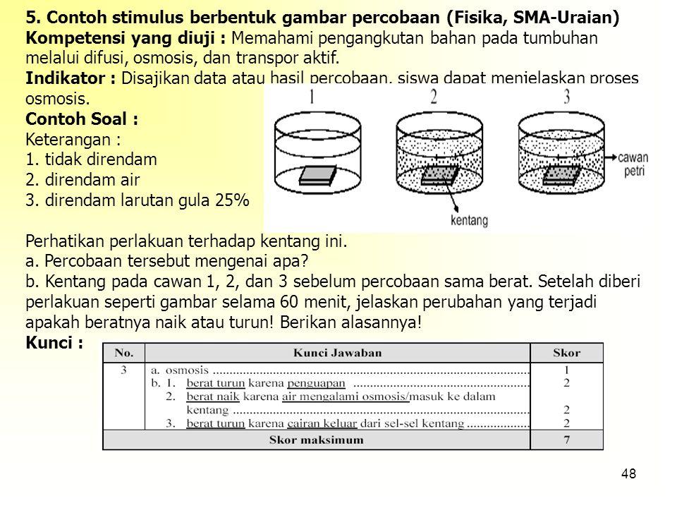 5. Contoh stimulus berbentuk gambar percobaan (Fisika, SMA-Uraian)