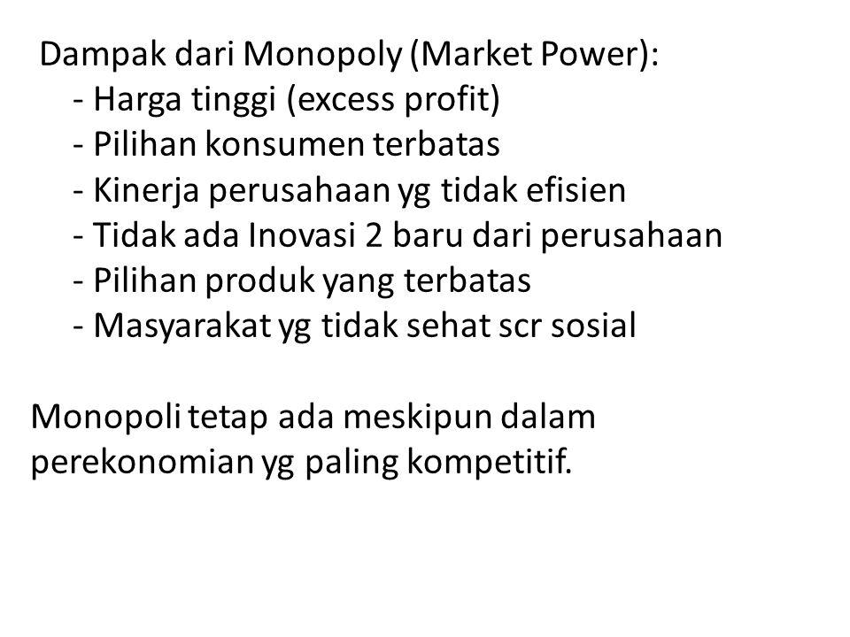 Dampak dari Monopoly (Market Power):. - Harga tinggi (excess profit)