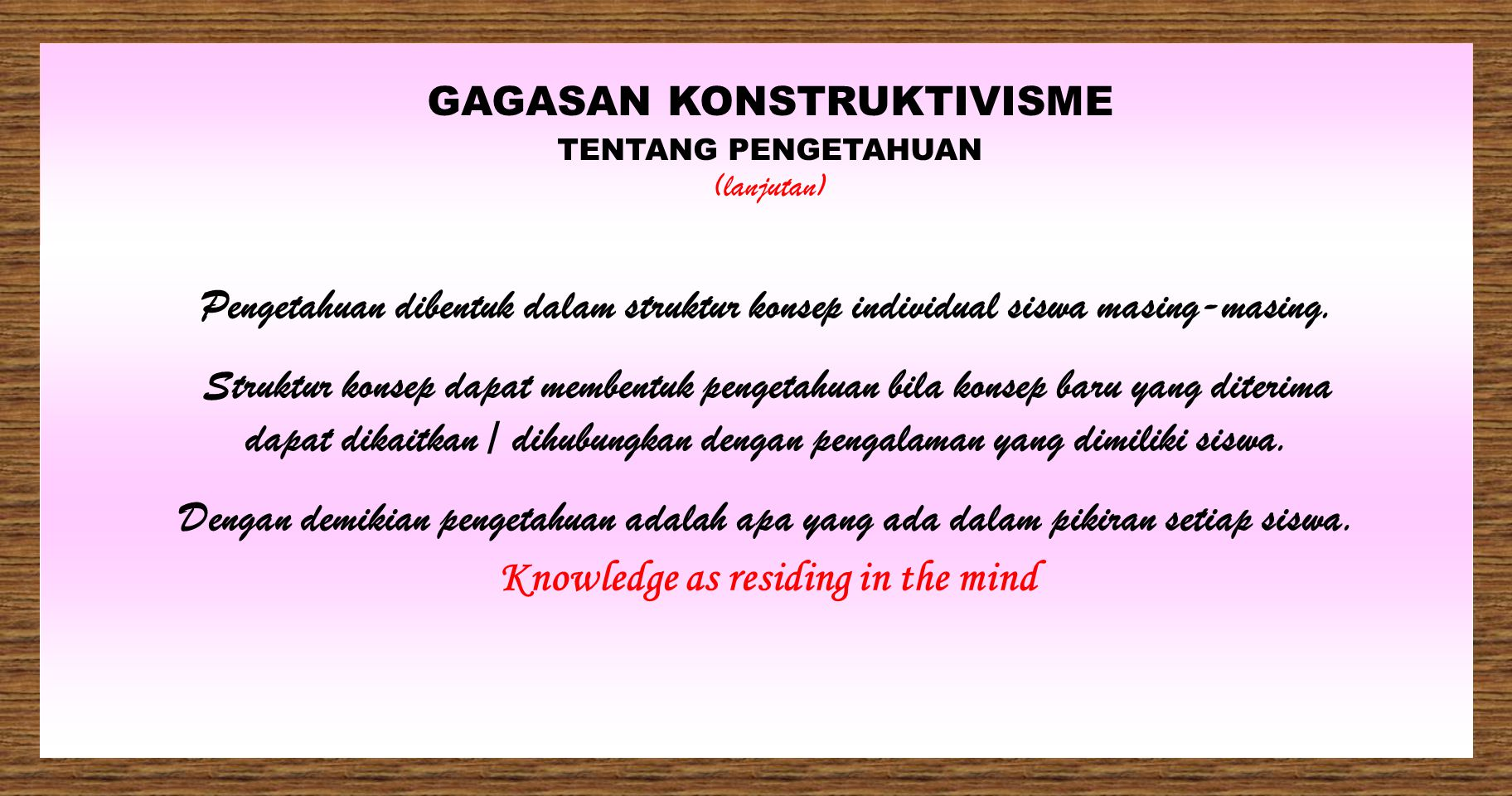 Knowledge as residing in the mind