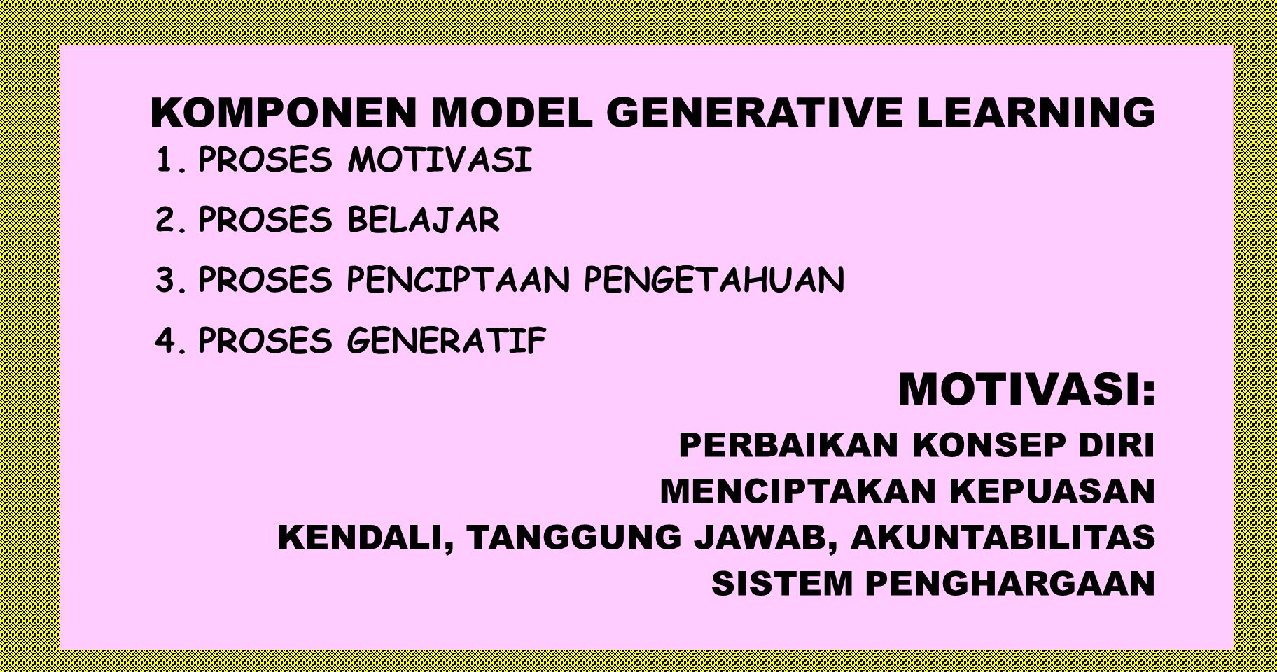 MOTIVASI: KOMPONEN MODEL GENERATIVE LEARNING PROSES MOTIVASI