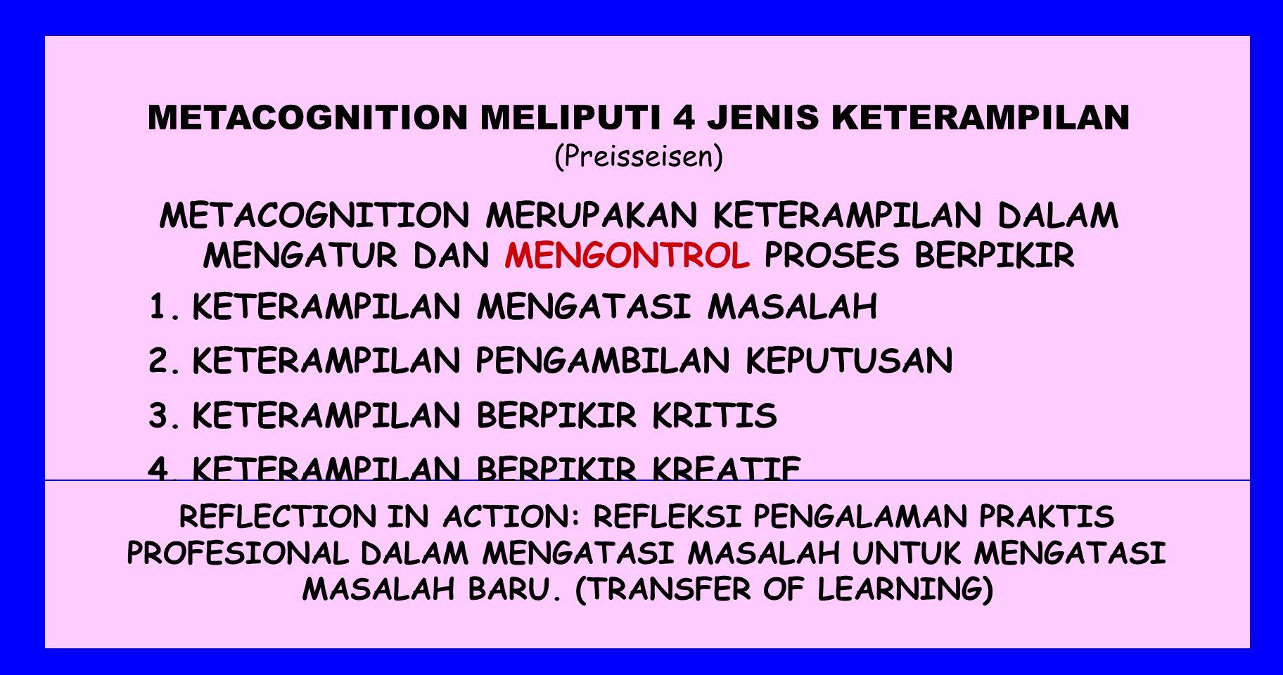 METACOGNITION MELIPUTI 4 JENIS KETERAMPILAN (Preisseisen)