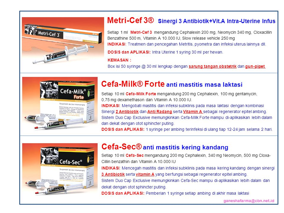 Metri-Cef 3® Sinergi 3 Antibiotik+Vit.A Intra-Uterine Infus
