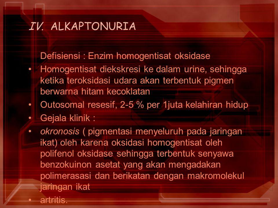 IV. ALKAPTONURIA Defisiensi : Enzim homogentisat oksidase
