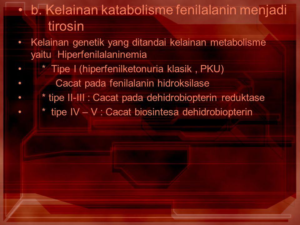 b. Kelainan katabolisme fenilalanin menjadi tirosin
