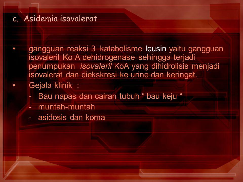 c. Asidemia isovalerat