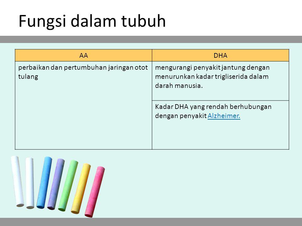 Fungsi dalam tubuh AA DHA