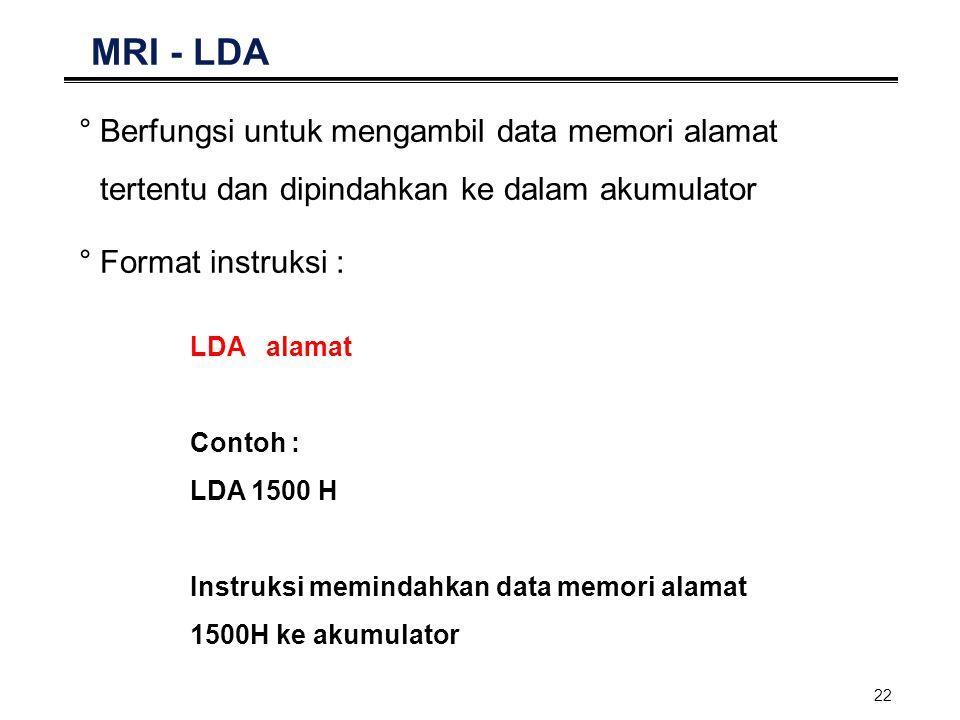 MRI - LDA Berfungsi untuk mengambil data memori alamat tertentu dan dipindahkan ke dalam akumulator.