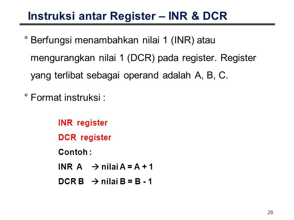 Instruksi antar Register – INR & DCR