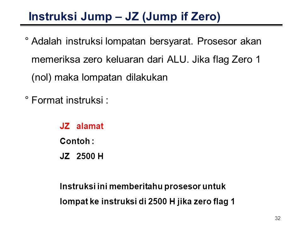 Instruksi Jump – JZ (Jump if Zero)
