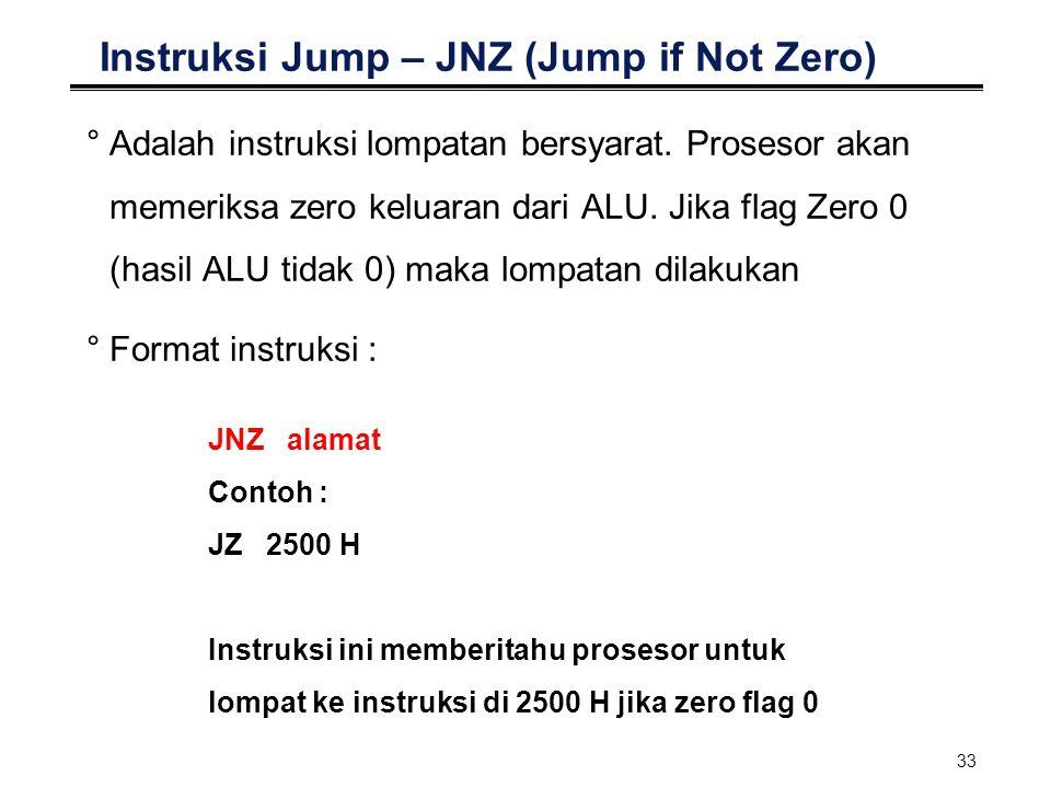 Instruksi Jump – JNZ (Jump if Not Zero)