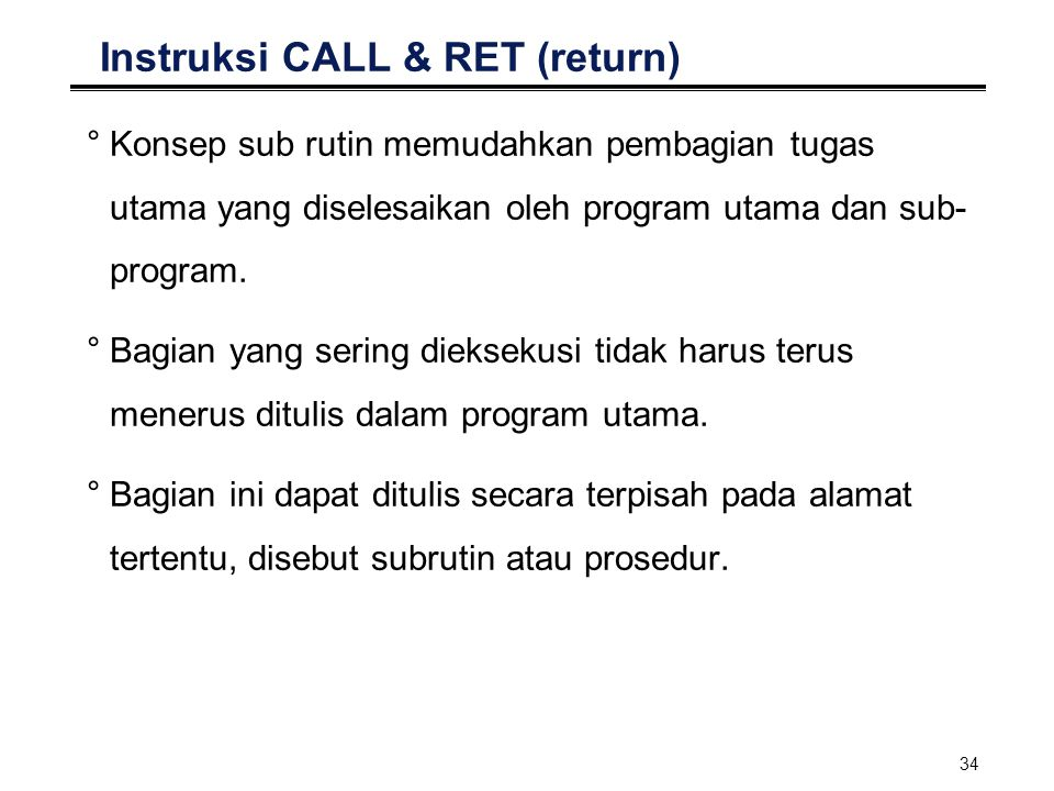Instruksi CALL & RET (return)
