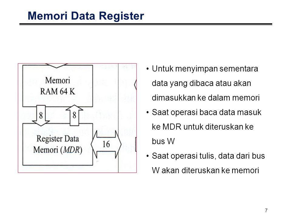 Memori Data Register Untuk menyimpan sementara data yang dibaca atau akan dimasukkan ke dalam memori.
