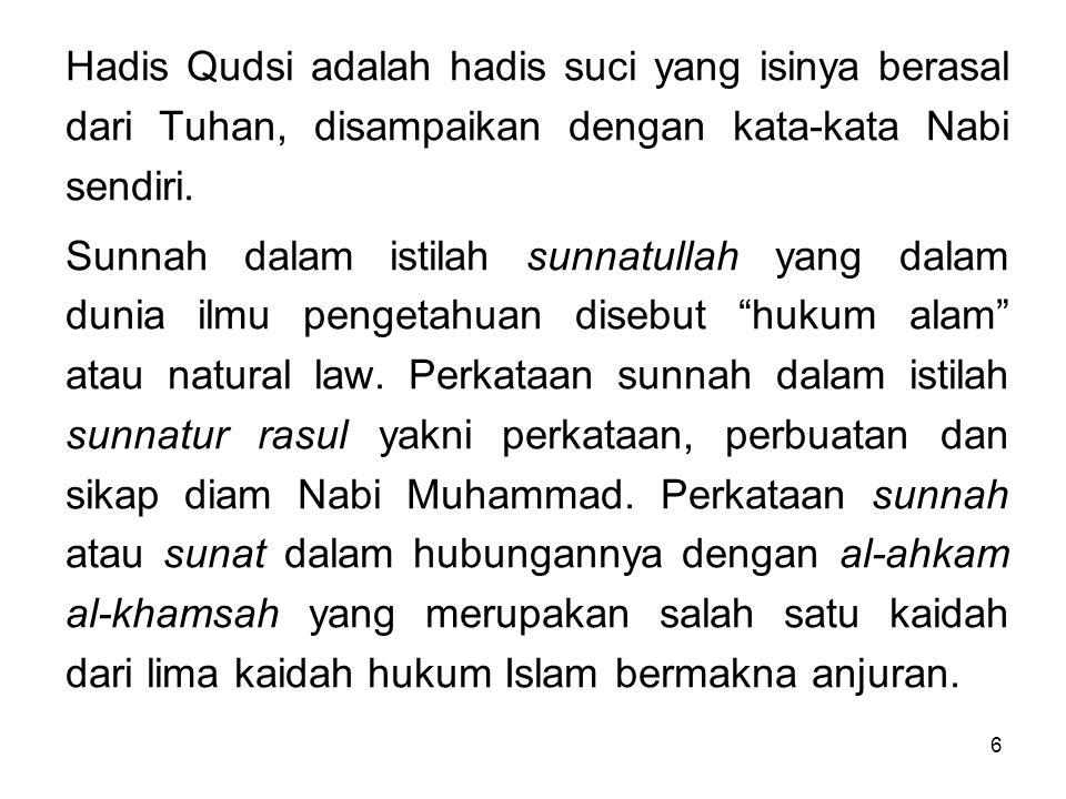 Hadis Qudsi adalah hadis suci yang isinya berasal dari Tuhan, disampaikan dengan kata-kata Nabi sendiri.