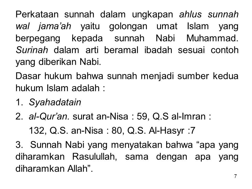 Perkataan sunnah dalam ungkapan ahlus sunnah wal jama'ah yaitu golongan umat Islam yang berpegang kepada sunnah Nabi Muhammad. Surinah dalam arti beramal ibadah sesuai contoh yang diberikan Nabi.