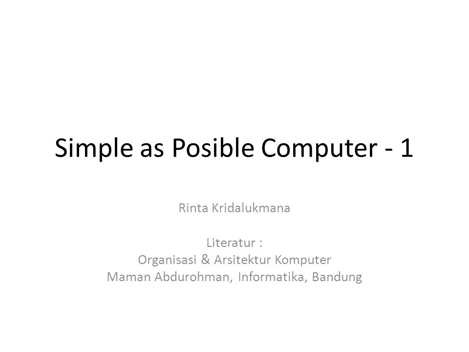 Simple as Posible Computer - 1