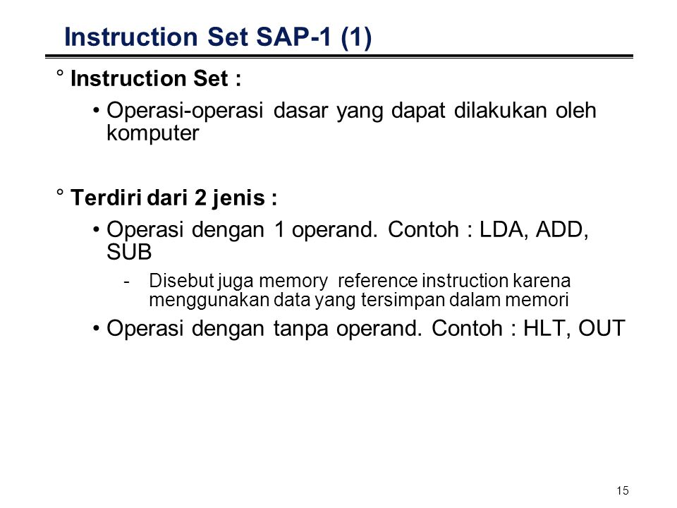 Instruction Set SAP-1 (1)