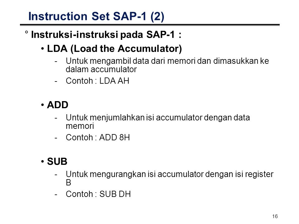 Instruction Set SAP-1 (2)