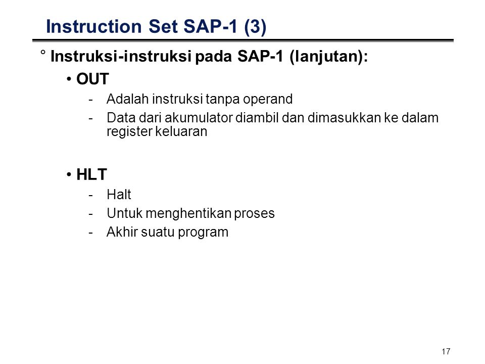 Instruction Set SAP-1 (3)