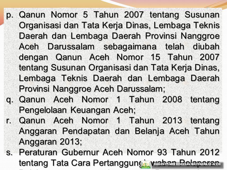 Qanun Aceh Nomor 1 Tahun 2008 tentang Pengelolaan Keuangan Aceh;