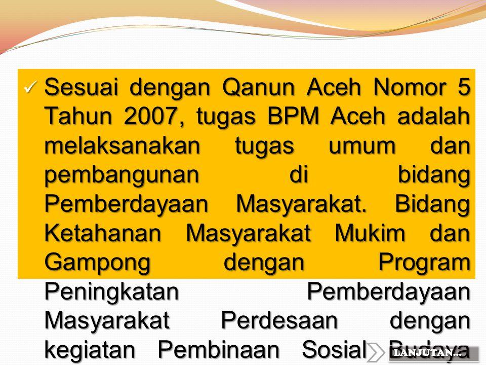 Sesuai dengan Qanun Aceh Nomor 5 Tahun 2007, tugas BPM Aceh adalah melaksanakan tugas umum dan pembangunan di bidang Pemberdayaan Masyarakat. Bidang Ketahanan Masyarakat Mukim dan Gampong dengan Program Peningkatan Pemberdayaan Masyarakat Perdesaan dengan kegiatan Pembinaan Sosial Budaya Masyarakat dan PKK dengan sub kegiatan adalah PMT-AS.