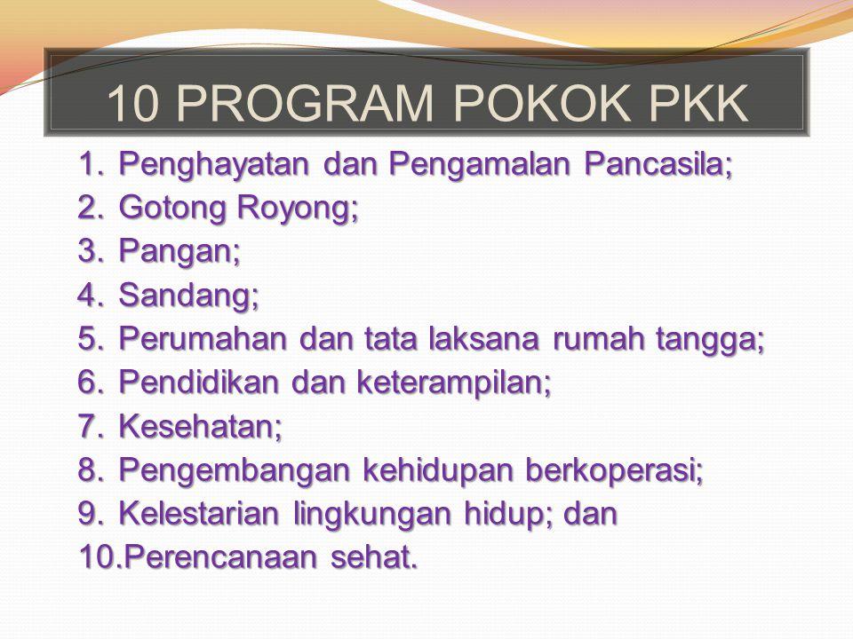 10 PROGRAM POKOK PKK Penghayatan dan Pengamalan Pancasila;