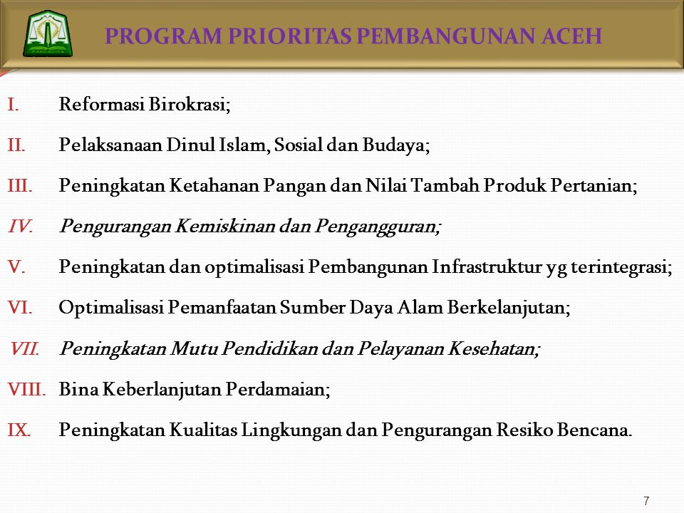 PROGRAM PRIORITAS PEMBANGUNAN ACEH