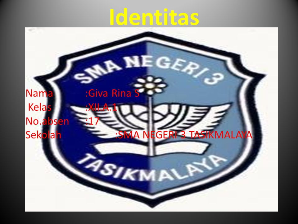 Identitas Nama :Giva Rina S Kelas :XII.A.1 No.absen :17 Sekolah :SMA NEGERI 3 TASIKMALAYA