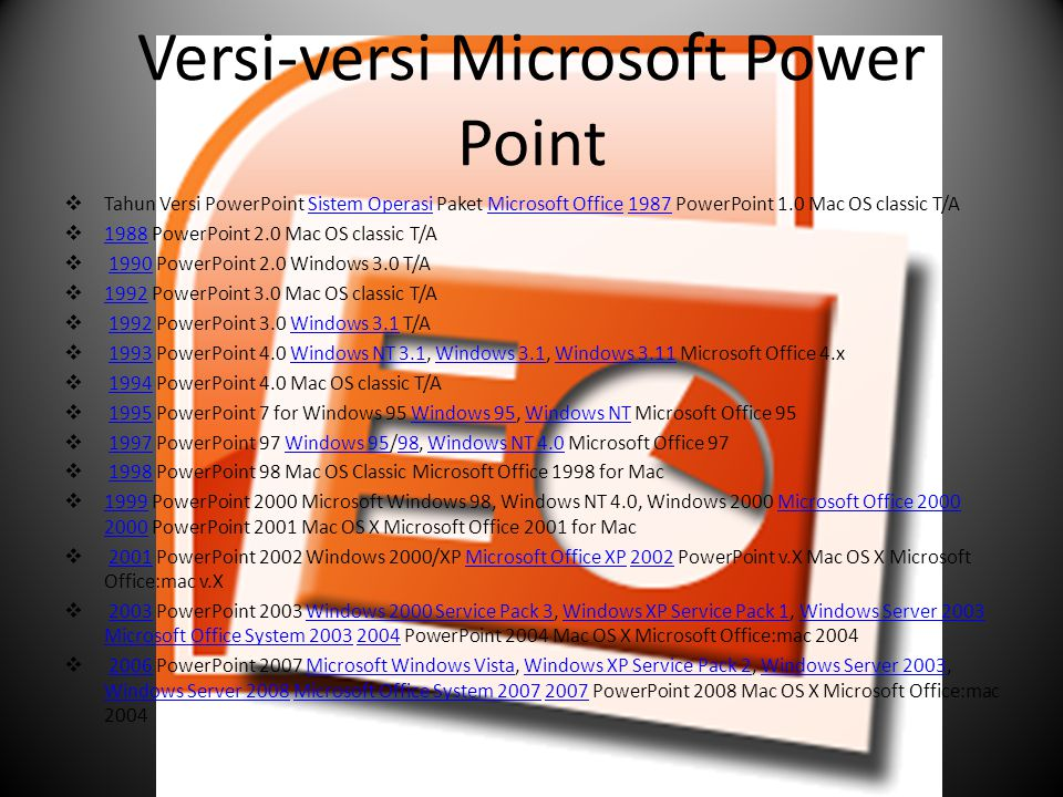 Versi-versi Microsoft Power Point