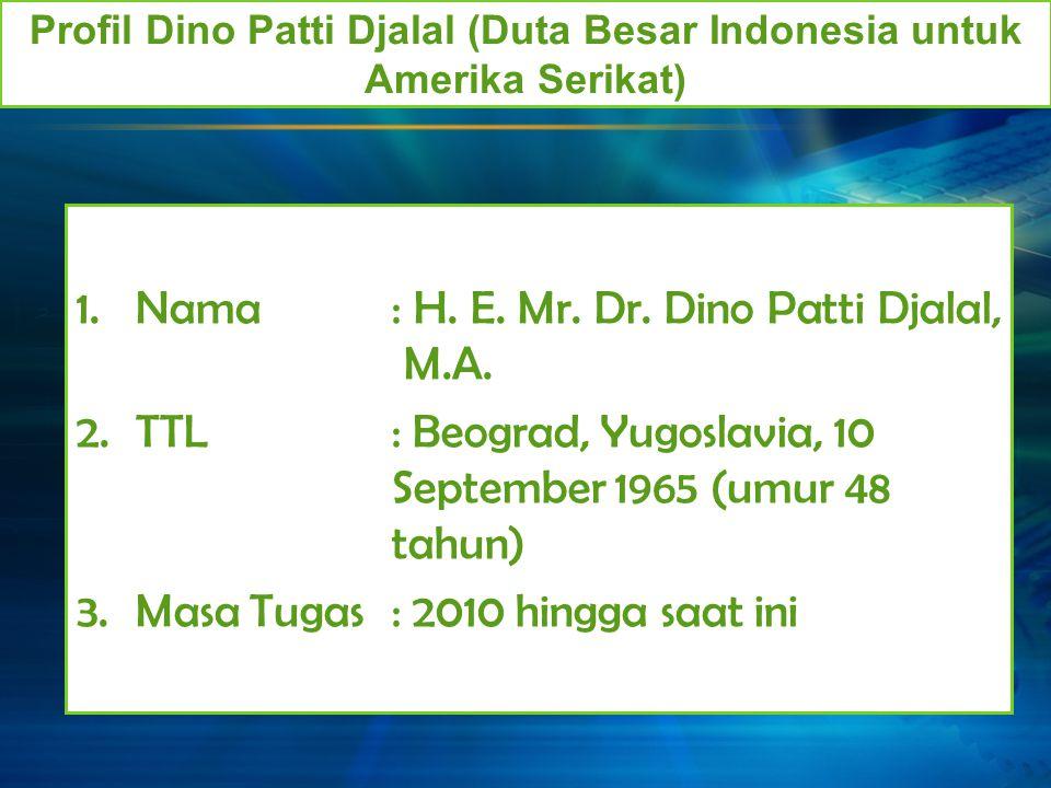 Profil Dino Patti Djalal (Duta Besar Indonesia untuk Amerika Serikat)