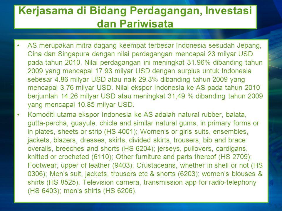 Kerjasama di Bidang Perdagangan, Investasi dan Pariwisata