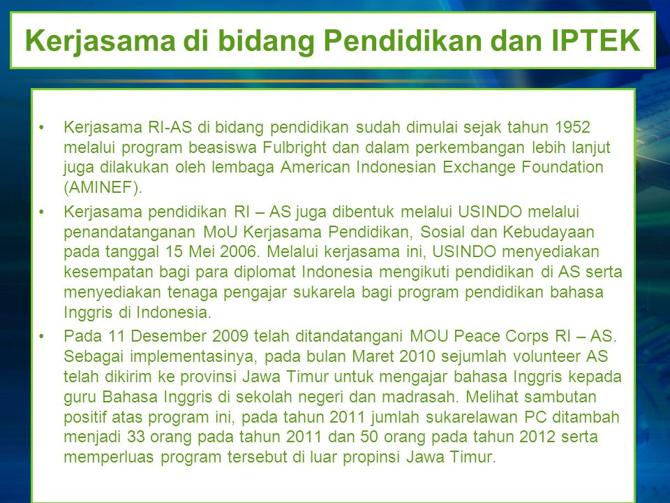Kerjasama di bidang Pendidikan dan IPTEK