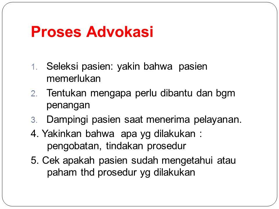 Proses Advokasi Seleksi pasien: yakin bahwa pasien memerlukan