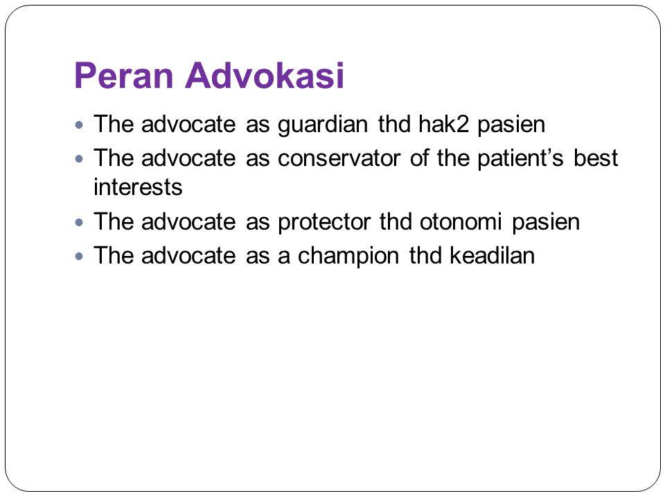 Peran Advokasi The advocate as guardian thd hak2 pasien
