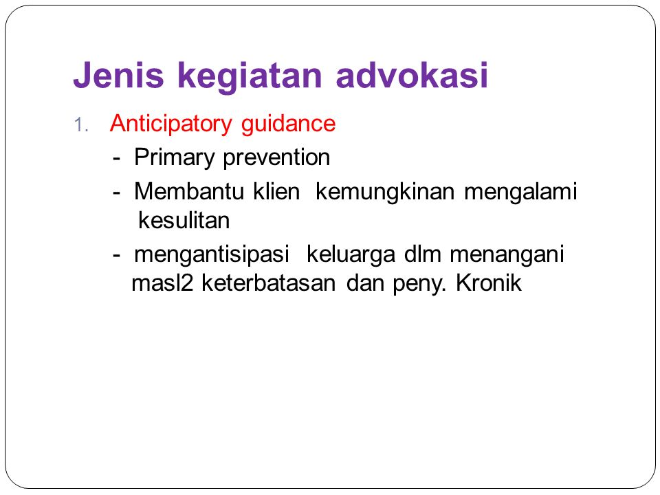 Jenis kegiatan advokasi