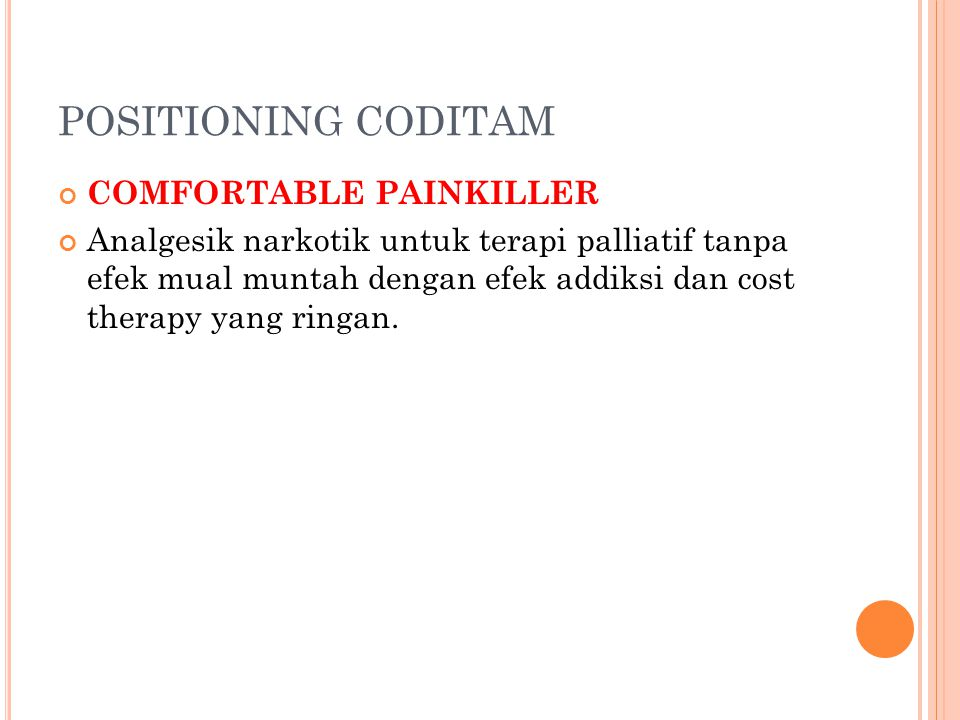 POSITIONING CODITAM COMFORTABLE PAINKILLER