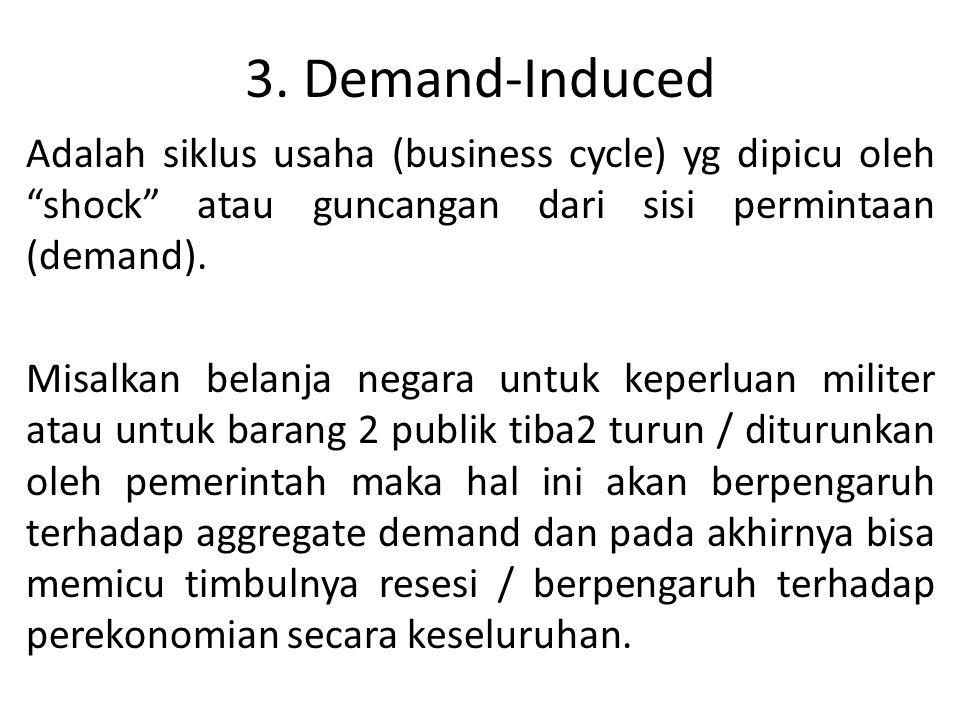 3. Demand-Induced Adalah siklus usaha (business cycle) yg dipicu oleh shock atau guncangan dari sisi permintaan (demand).