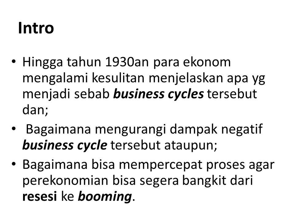 Intro Hingga tahun 1930an para ekonom mengalami kesulitan menjelaskan apa yg menjadi sebab business cycles tersebut dan;