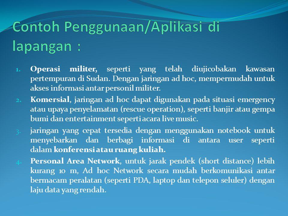 Contoh Penggunaan/Aplikasi di lapangan :