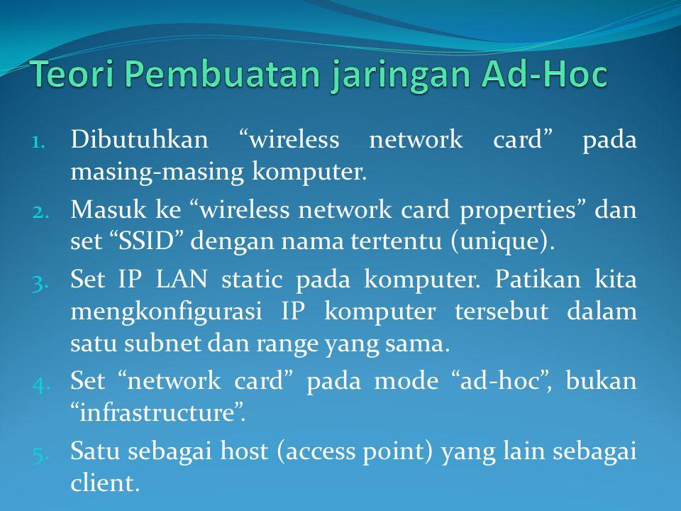 Teori Pembuatan jaringan Ad-Hoc