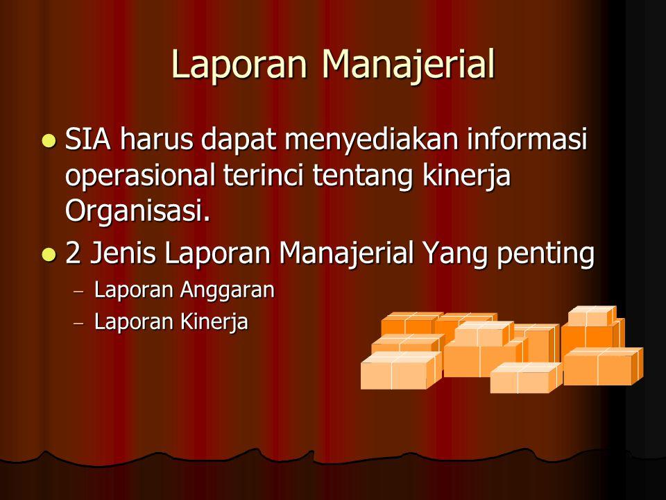 Laporan Manajerial SIA harus dapat menyediakan informasi operasional terinci tentang kinerja Organisasi.