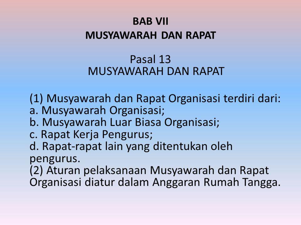 BAB VII MUSYAWARAH DAN RAPAT
