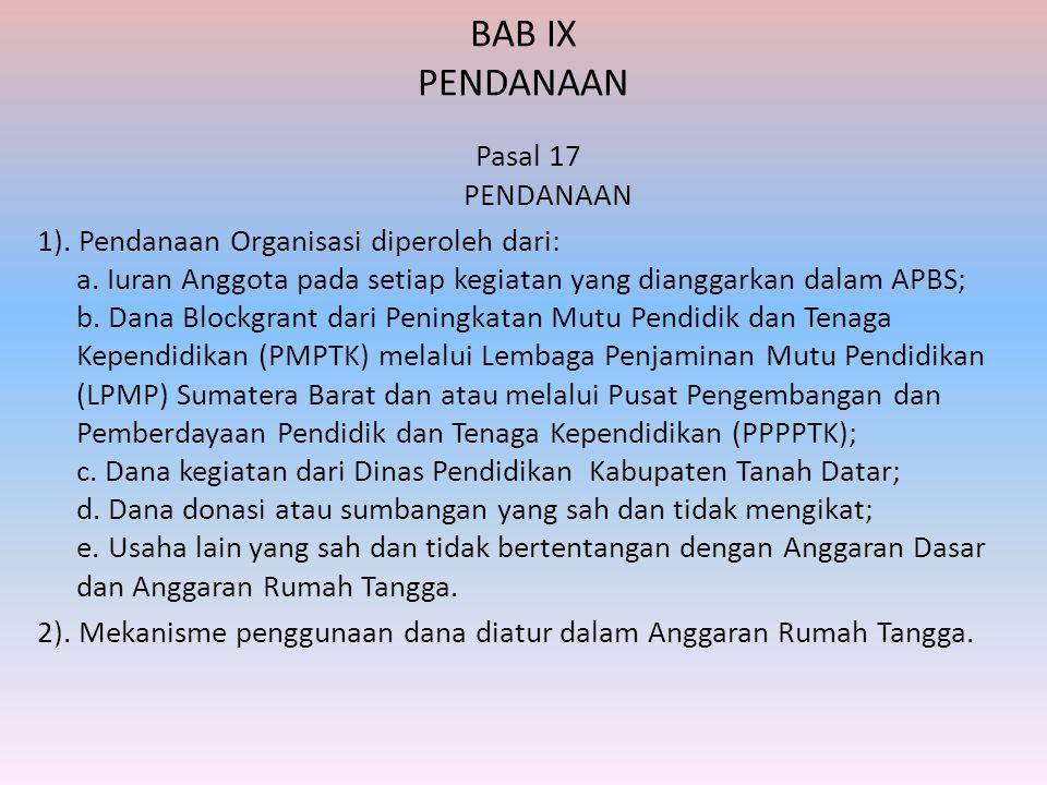 BAB IX PENDANAAN