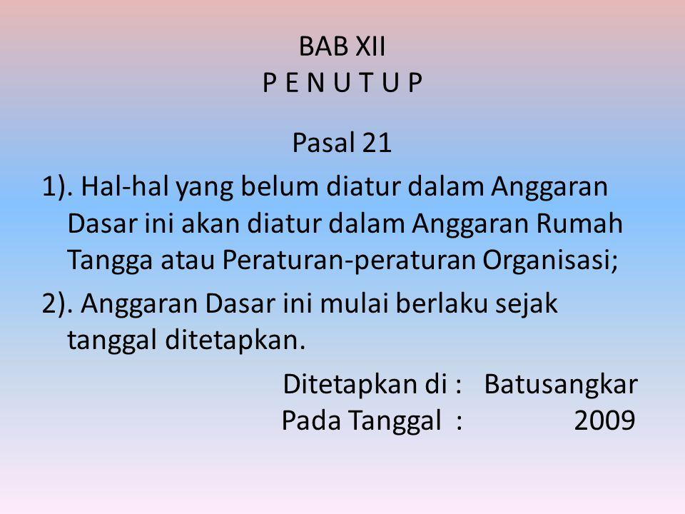BAB XII P E N U T U P