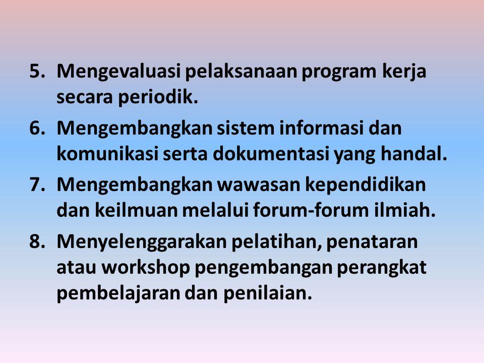 Mengevaluasi pelaksanaan program kerja secara periodik.