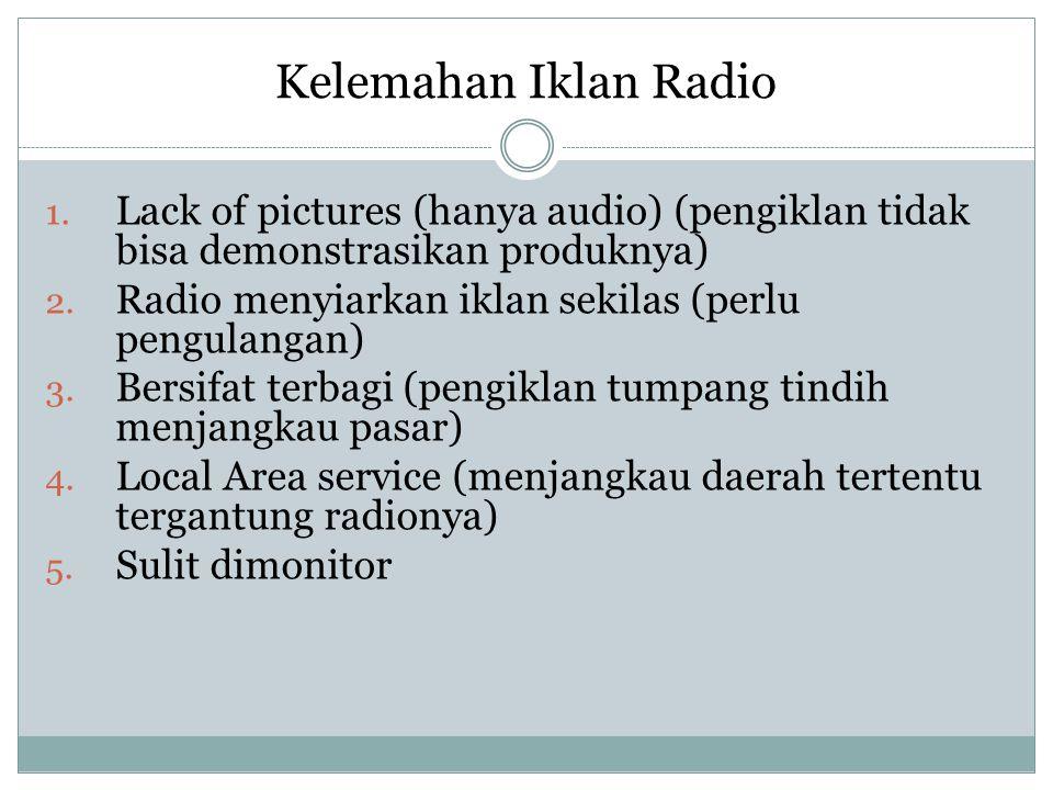 Kelemahan Iklan Radio Lack of pictures (hanya audio) (pengiklan tidak bisa demonstrasikan produknya)