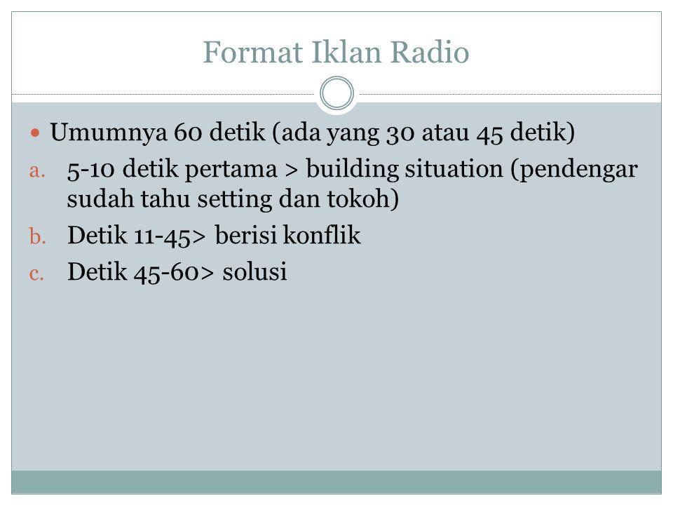 Format Iklan Radio Umumnya 60 detik (ada yang 30 atau 45 detik)