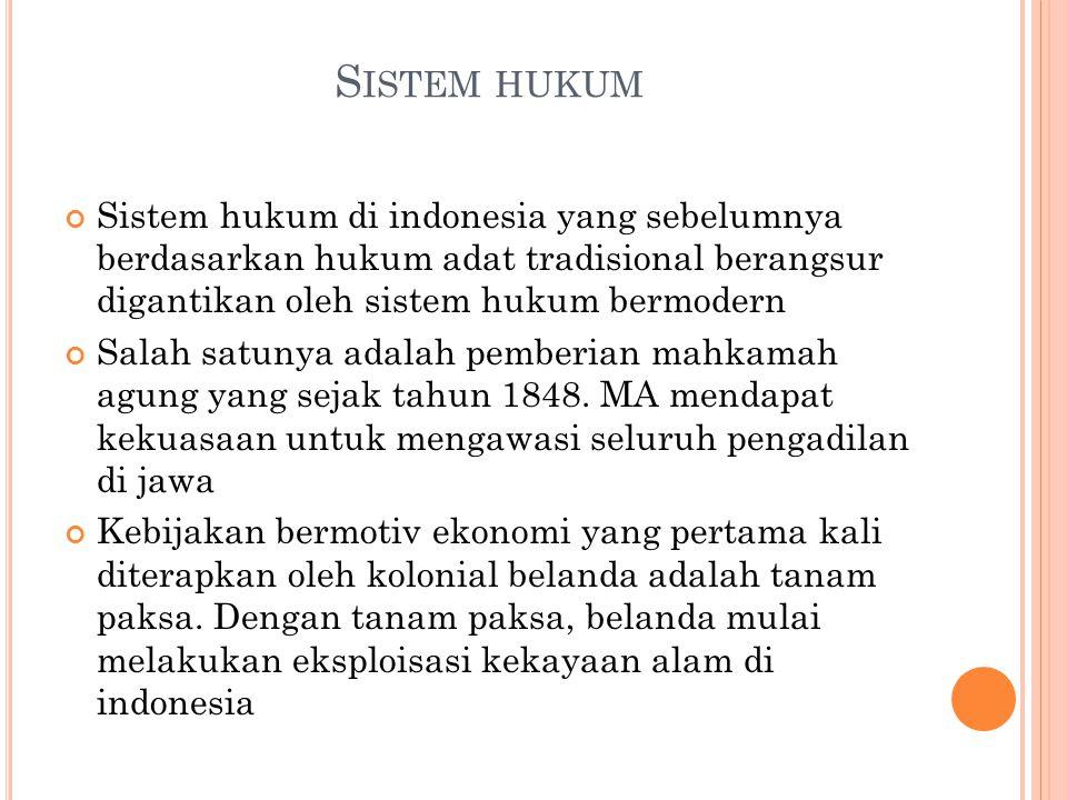 Sistem hukum Sistem hukum di indonesia yang sebelumnya berdasarkan hukum adat tradisional berangsur digantikan oleh sistem hukum bermodern.