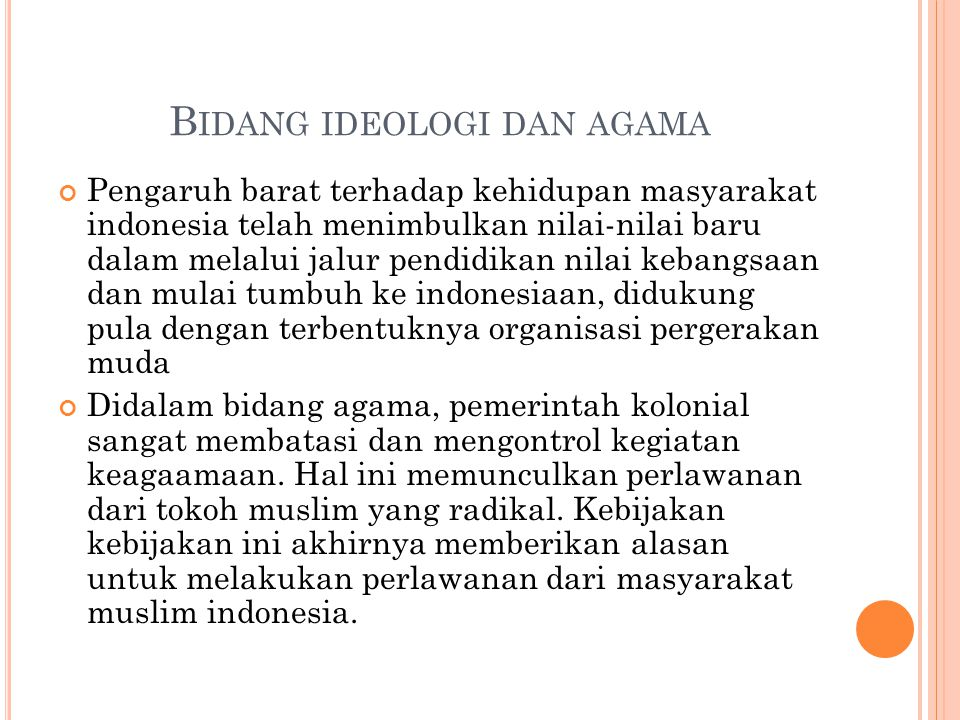 Bidang ideologi dan agama