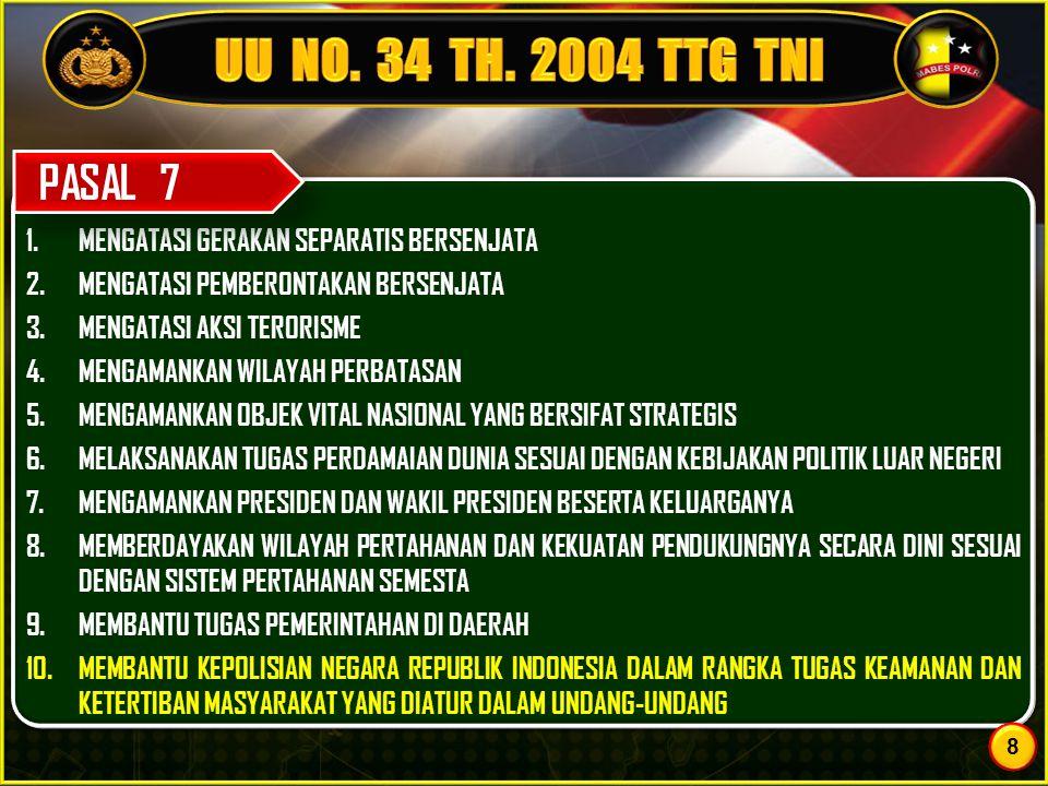 UU NO. 34 TH. 2004 TTG TNI MENGATASI GERAKAN SEPARATIS BERSENJATA. MENGATASI PEMBERONTAKAN BERSENJATA.